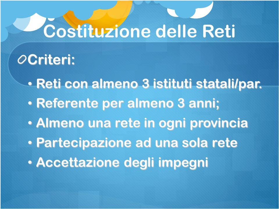 Costituzione delle Reti Criteri: Reti con almeno 3 istituti statali/par.