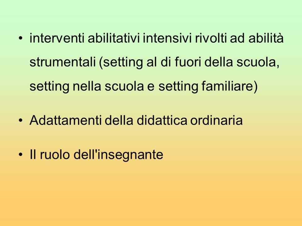 interventi abilitativi intensivi rivolti ad abilità strumentali (setting al di fuori della scuola, setting nella scuola e setting familiare) Adattamen