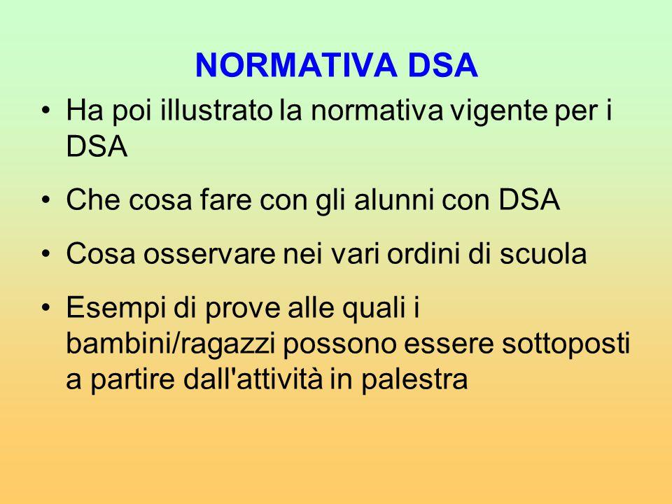 NORMATIVA DSA Ha poi illustrato la normativa vigente per i DSA Che cosa fare con gli alunni con DSA Cosa osservare nei vari ordini di scuola Esempi di