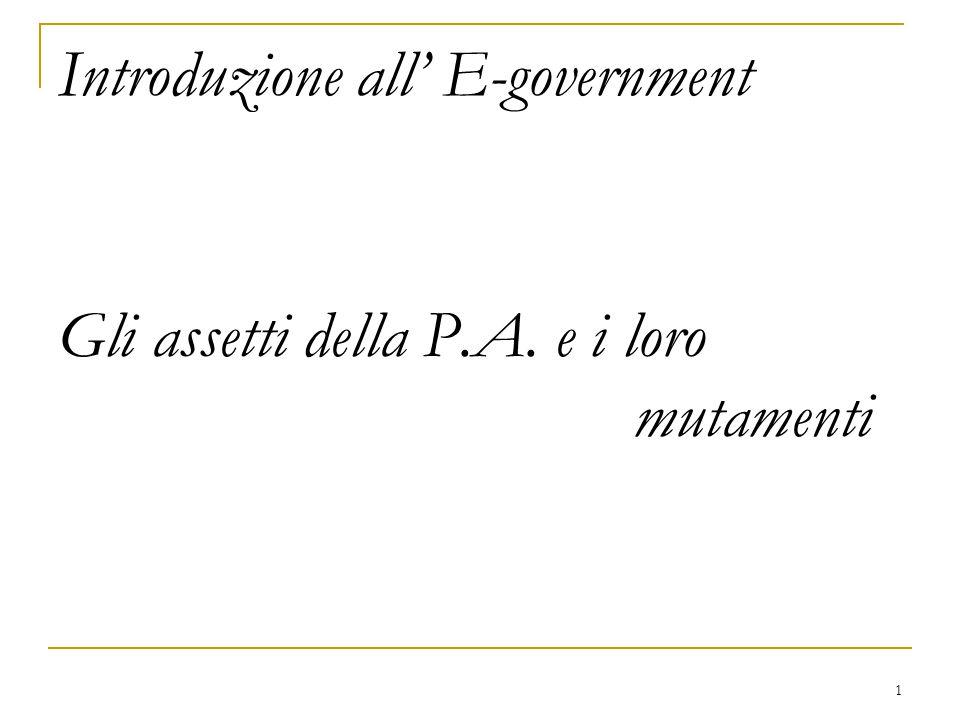 1 Introduzione all' E-government Gli assetti della P.A. e i loro mutamenti