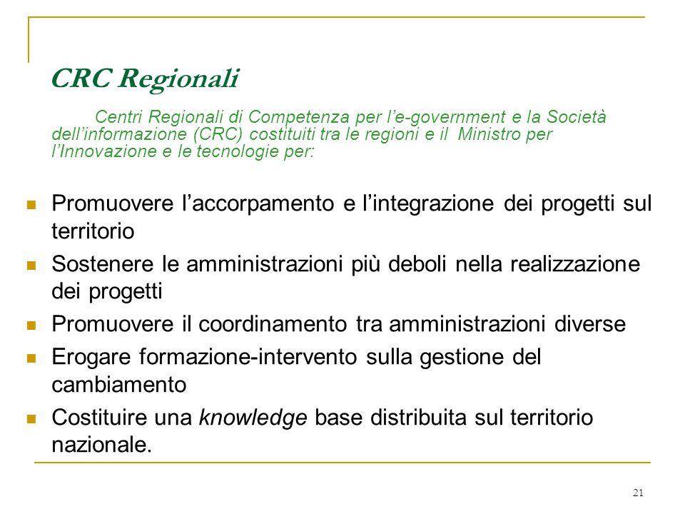 21 CRC Regionali Centri Regionali di Competenza per l'e-government e la Società dell'informazione (CRC) costituiti tra le regioni e il Ministro per l'