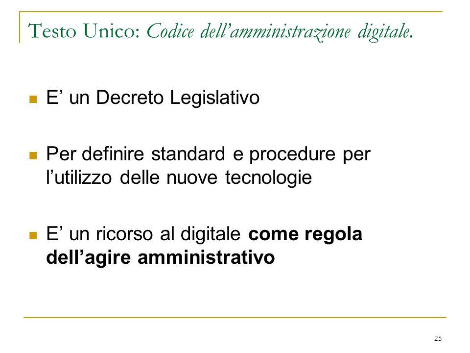 25 Testo Unico: Codice dell'amministrazione digitale. E' un Decreto Legislativo Per definire standard e procedure per l'utilizzo delle nuove tecnologi