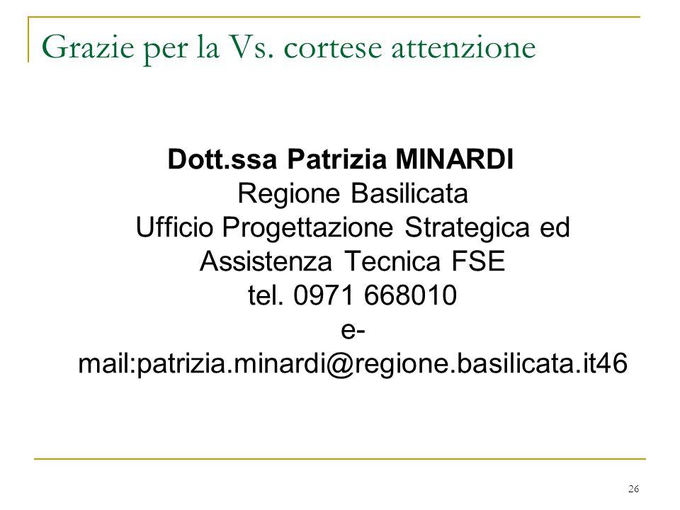 26 Grazie per la Vs. cortese attenzione Dott.ssa Patrizia MINARDI Regione Basilicata Ufficio Progettazione Strategica ed Assistenza Tecnica FSE tel. 0
