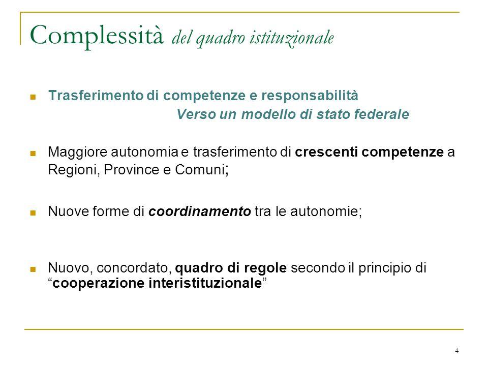 4 Complessità del quadro istituzionale Trasferimento di competenze e responsabilità Verso un modello di stato federale Maggiore autonomia e trasferime