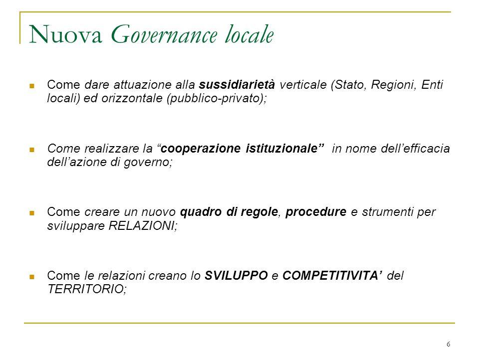 6 Nuova Governance locale Come dare attuazione alla sussidiarietà verticale (Stato, Regioni, Enti locali) ed orizzontale (pubblico-privato); Come real