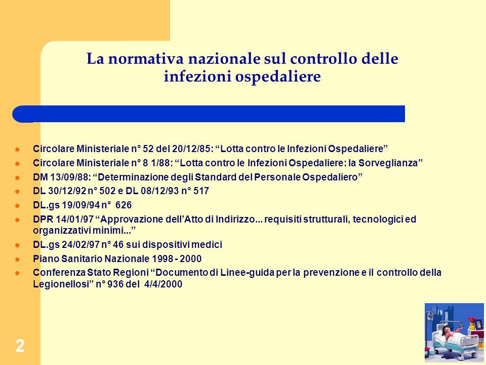 2 La normativa nazionale sul controllo delle infezioni ospedaliere Circolare Ministeriale n° 52 del 20/12/85: Lotta contro le Infezioni Ospedaliere Circolare Ministeriale n° 8 1/88: Lotta contro le Infezioni Ospedaliere: la Sorveglianza DM 13/09/88: Determinazione degli Standard del Personale Ospedaliero DL 30/12/92 n° 502 e DL 08/12/93 n° 517 DL.gs 19/09/94 n° 626 DPR 14/01/97 Approvazione dell'Atto di Indirizzo...