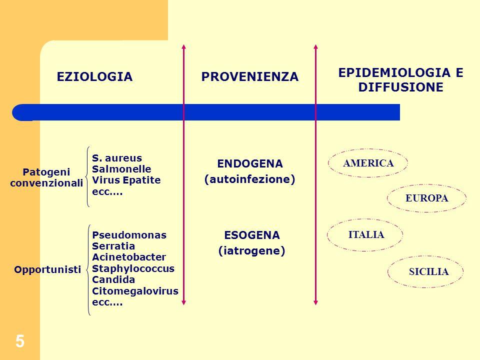 5 EZIOLOGIAPROVENIENZA EPIDEMIOLOGIA E DIFFUSIONE Patogeni convenzionali Opportunisti S.