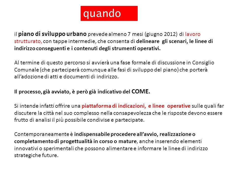Obiettivi strategici quando il piano di sviluppo urbano prevede almeno 7 mesi (giugno 2012) di lavoro strutturato, con tappe intermedie, che consenta