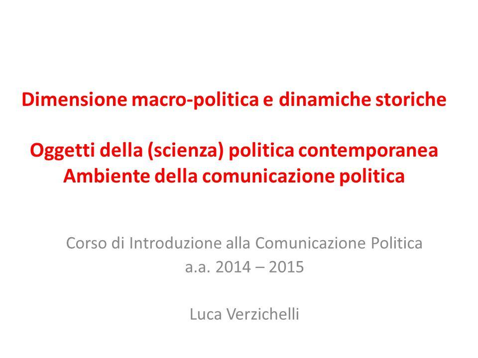 Dimensione macro-politica e dinamiche storiche Oggetti della (scienza) politica contemporanea Ambiente della comunicazione politica Corso di Introduzi