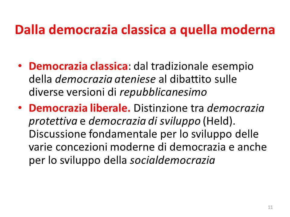 Dalla democrazia classica a quella moderna Democrazia classica: dal tradizionale esempio della democrazia ateniese al dibattito sulle diverse versioni