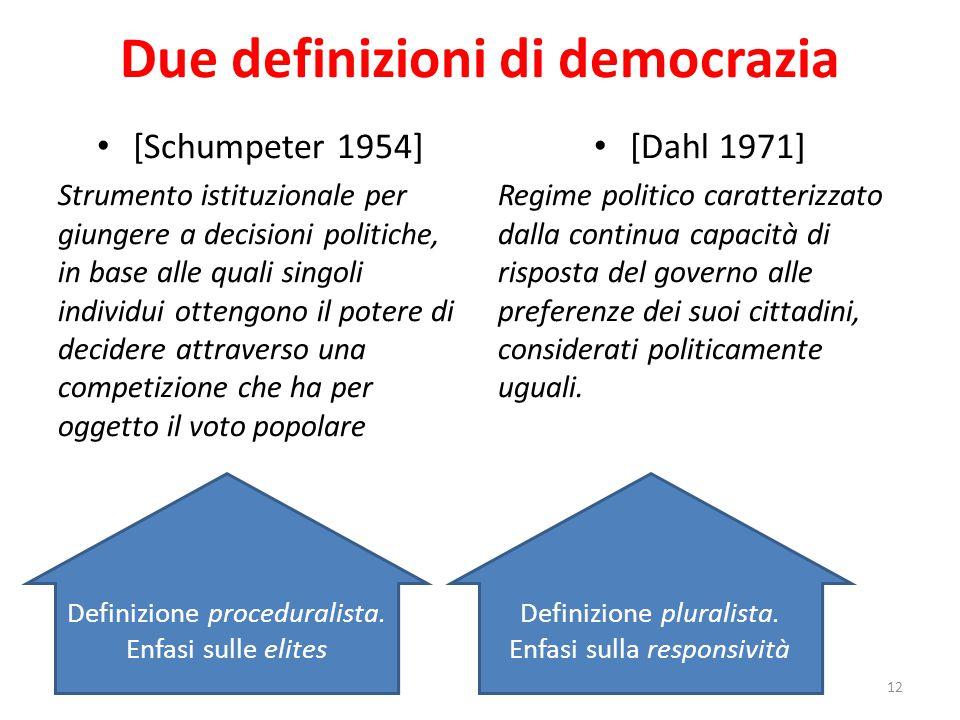 Due definizioni di democrazia [Schumpeter 1954] Strumento istituzionale per giungere a decisioni politiche, in base alle quali singoli individui otten