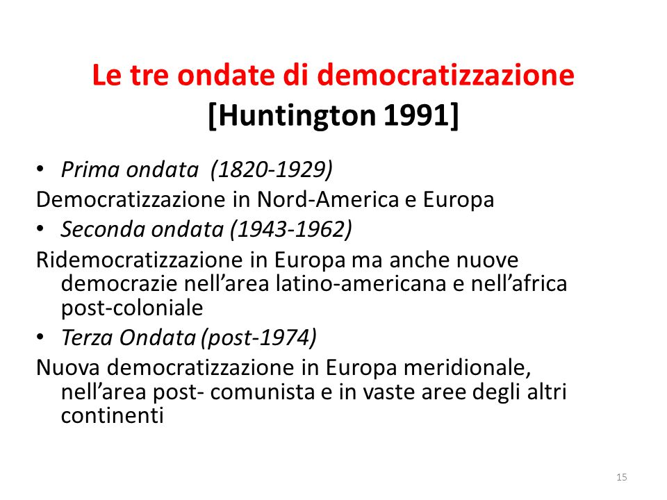 Le tre ondate di democratizzazione [Huntington 1991] Prima ondata (1820-1929) Democratizzazione in Nord-America e Europa Seconda ondata (1943-1962) Ri