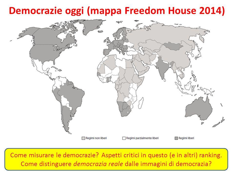 Democrazie oggi (mappa Freedom House 2014) Come misurare le democrazie? Aspetti critici in questo (e in altri) ranking. Come distinguere democrazia re