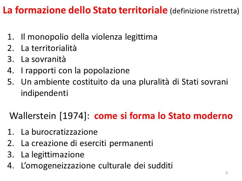 La formazione dello Stato territoriale (definizione ristretta) 8 1.Il monopolio della violenza legittima 2.La territorialità 3.La sovranità 4.I rappor