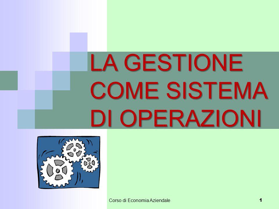 Corso di Economia Aziendale 1 LA GESTIONE COME SISTEMA DI OPERAZIONI