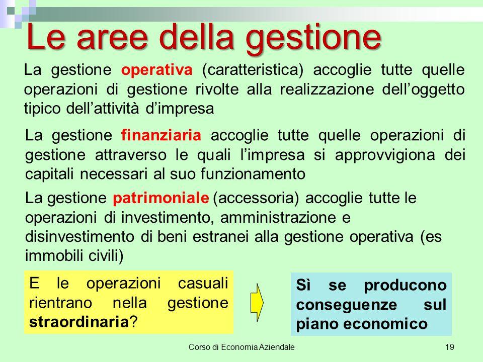 Corso di Economia Aziendale19 Le aree della gestione La gestione operativa (caratteristica) accoglie tutte quelle operazioni di gestione rivolte alla