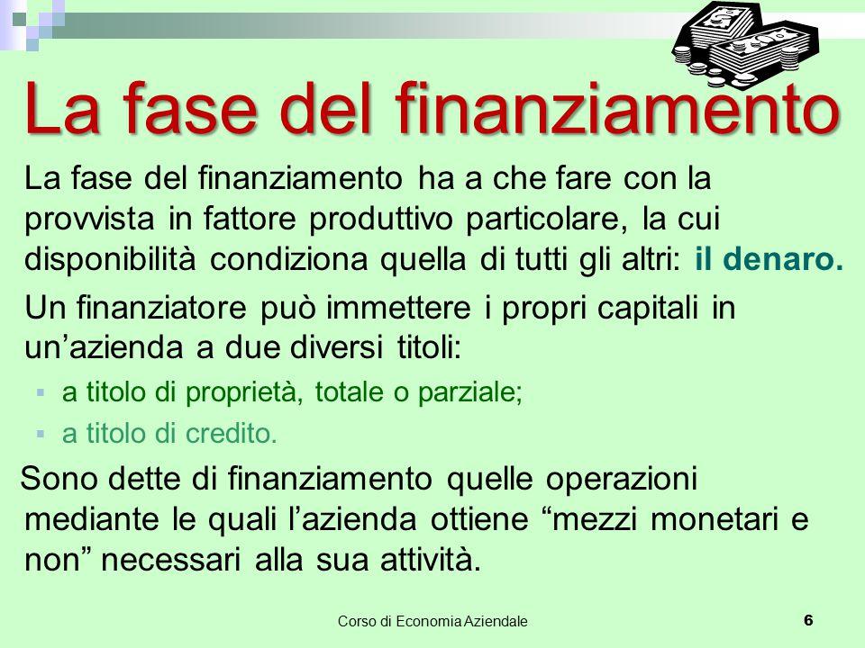 Corso di Economia Aziendale 6 La fase del finanziamento ha a che fare con la provvista in fattore produttivo particolare, la cui disponibilità condizi