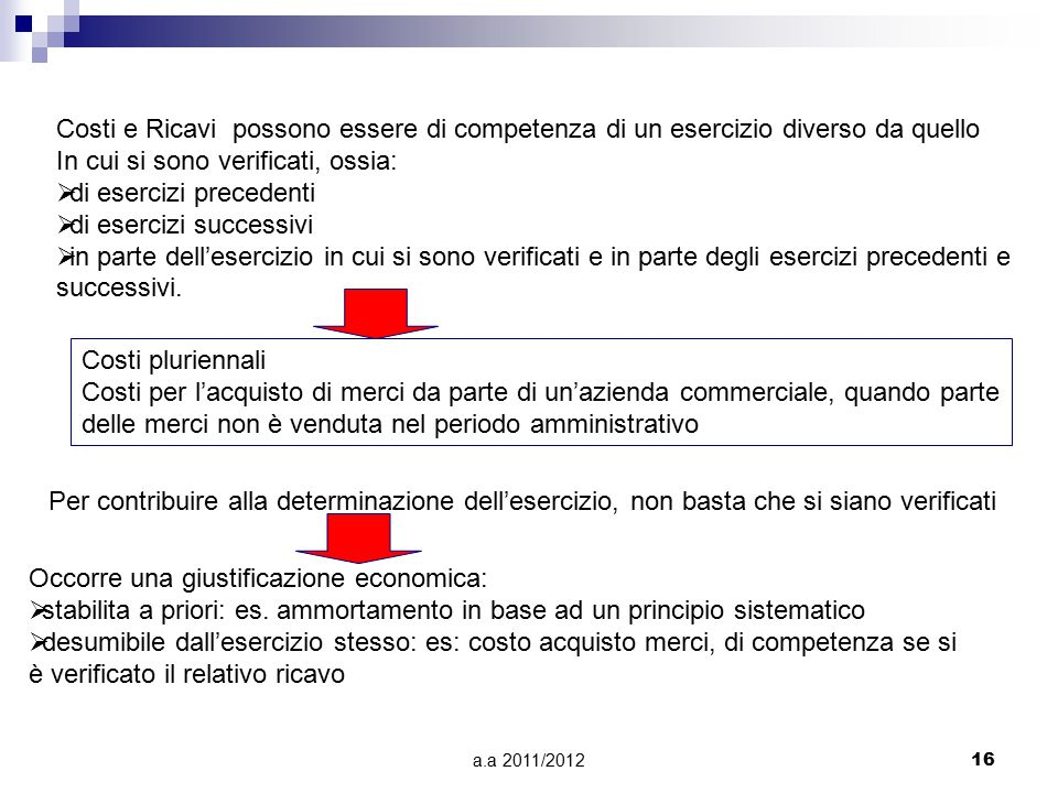 a.a 2011/201216 Costi e Ricavi possono essere di competenza di un esercizio diverso da quello In cui si sono verificati, ossia:  di esercizi precedenti  di esercizi successivi  in parte dell'esercizio in cui si sono verificati e in parte degli esercizi precedenti e successivi.