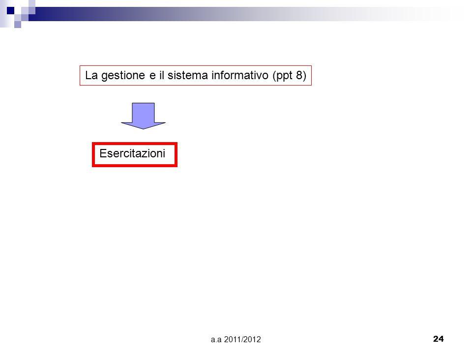 a.a 2011/201224 La gestione e il sistema informativo (ppt 8) Esercitazioni