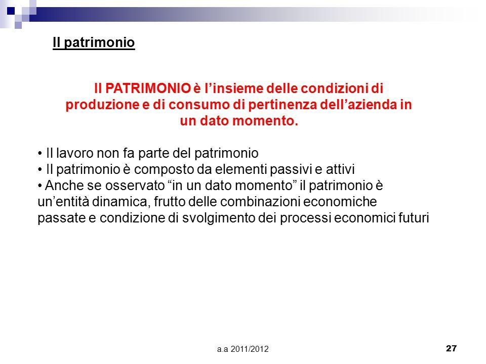 a.a 2011/201227 Il patrimonio Il PATRIMONIO è l'insieme delle condizioni di produzione e di consumo di pertinenza dell'azienda in un dato momento. Il