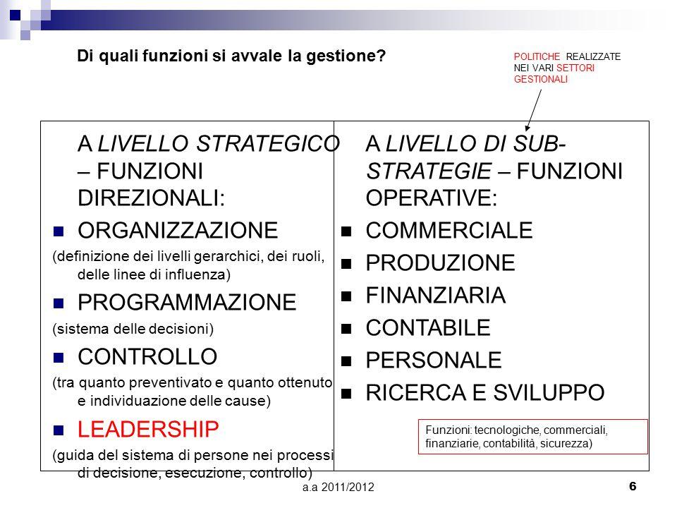 a.a 2011/20126 A LIVELLO STRATEGICO – FUNZIONI DIREZIONALI: ORGANIZZAZIONE (definizione dei livelli gerarchici, dei ruoli, delle linee di influenza) P