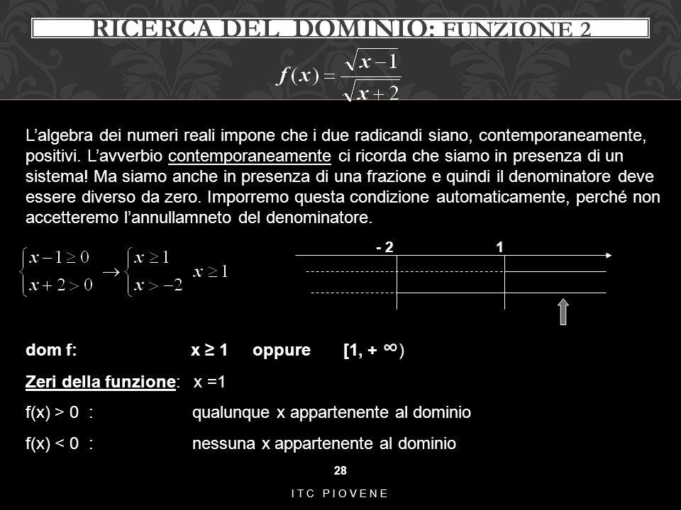 28 ITC PIOVENE RICERCA DEL DOMINIO: FUNZIONE 2 L'algebra dei numeri reali impone che i due radicandi siano, contemporaneamente, positivi. L'avverbio c