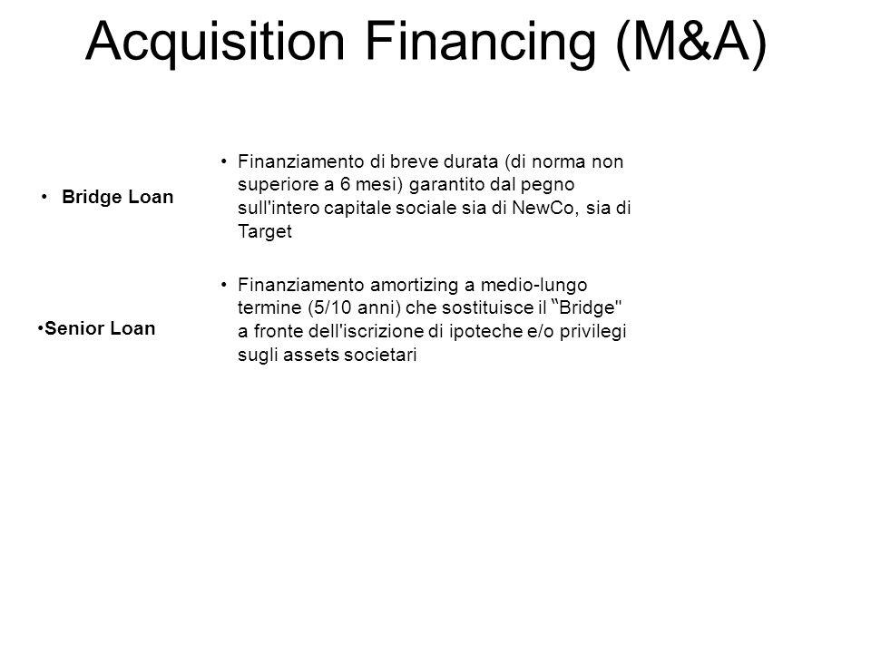 Acquisition Financing (M&A) Finanziamento di breve durata (di norma non superiore a 6 mesi) garantito dal pegno sull'intero capitale sociale sia di Ne
