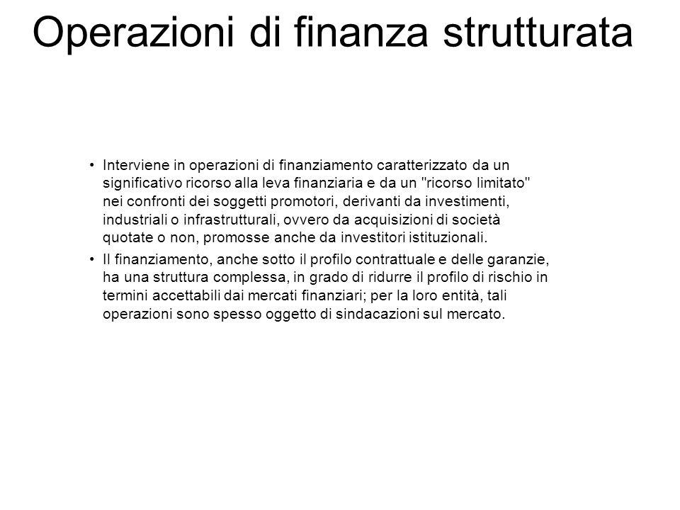 Operazioni di finanza strutturata Interviene in operazioni di finanziamento caratterizzato da un significativo ricorso alla leva finanziaria e da un