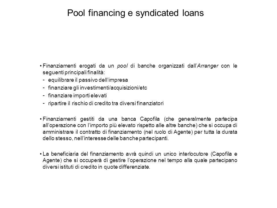 Pool financing e syndicated loans Finanziamenti erogati da un pool di banche organizzati dall'Arranger con le seguenti principali finalità: - equilibr