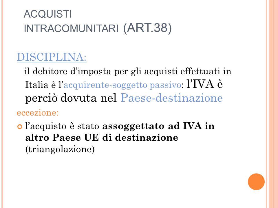 ACQUISTI INTRACOMUNITARI (ART.38) DISCIPLINA: il debitore d'imposta per gli acquisti effettuati in Italia è l'acquirente-soggetto passivo: l'IVA è perciò dovuta nel Paese-destinazione eccezione: l'acquisto è stato assoggettato ad IVA in altro Paese UE di destinazione (triangolazione)