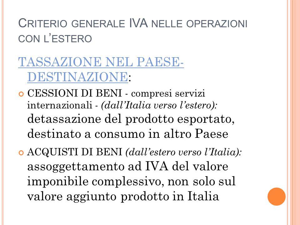C RITERIO GENERALE IVA NELLE OPERAZIONI CON L ' ESTERO TASSAZIONE NEL PAESE- DESTINAZIONE: CESSIONI DI BENI - compresi servizi internazionali - (dall'Italia verso l'estero): detassazione del prodotto esportato, destinato a consumo in altro Paese ACQUISTI DI BENI (dall'estero verso l'Italia): assoggettamento ad IVA del valore imponibile complessivo, non solo sul valore aggiunto prodotto in Italia