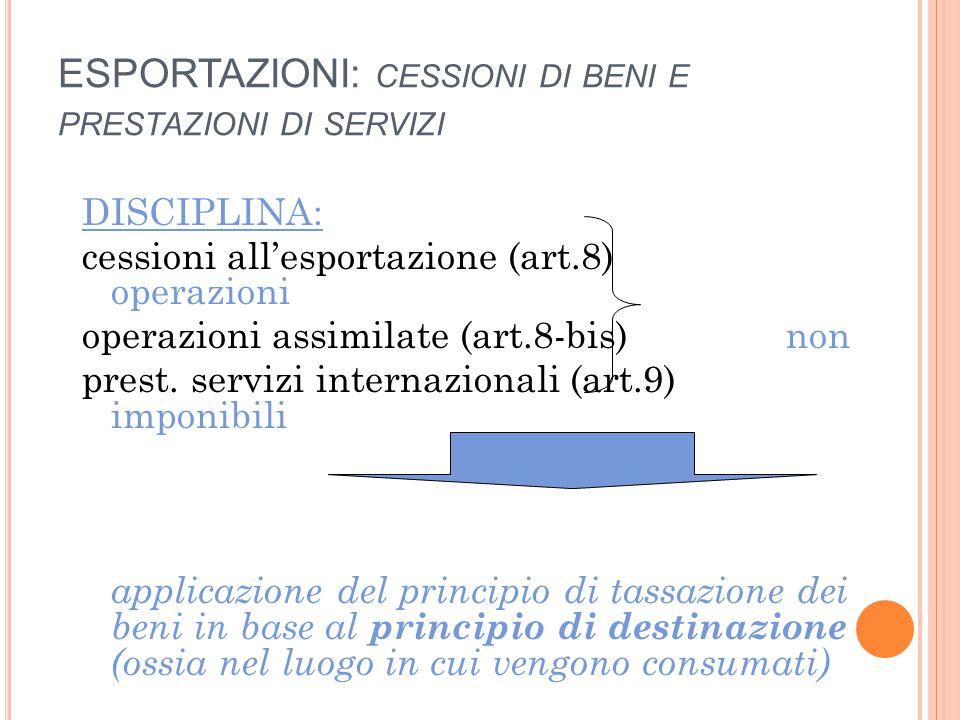 ESPORTAZIONI: CESSIONI DI BENI E PRESTAZIONI DI SERVIZI DISCIPLINA: cessioni all'esportazione (art.8) operazioni operazioni assimilate (art.8-bis) non prest.