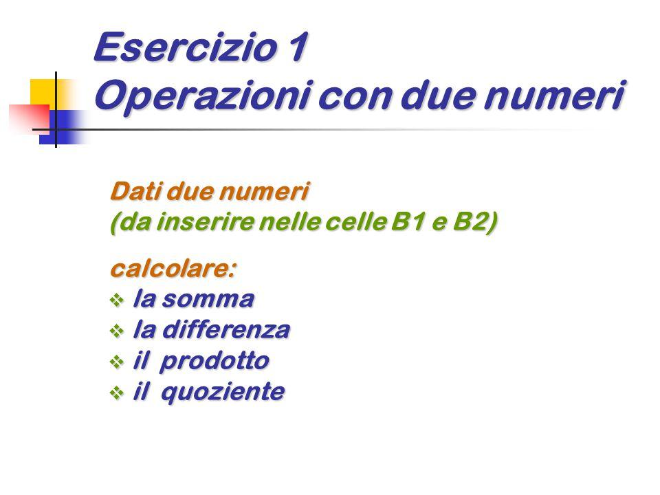 Esercizio 1 Operazioni con due numeri Dati due numeri (da inserire nelle celle B1 e B2) calcolare:  la somma  la differenza  il prodotto  il quozi