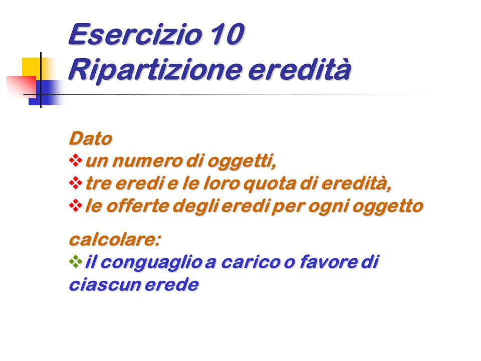Esercizio 10 Ripartizione eredità Dato  un numero di oggetti,  tre eredi e le loro quota di eredità,  le offerte degli eredi per ogni oggetto calco