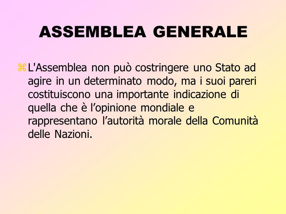 ASSEMBLEA GENERALE zTutti gli Stati Membri dell'ONU sono rappresentati nell'Assemblea Generale zOgni Stato Membro dispone di un voto zLe decisioni rel
