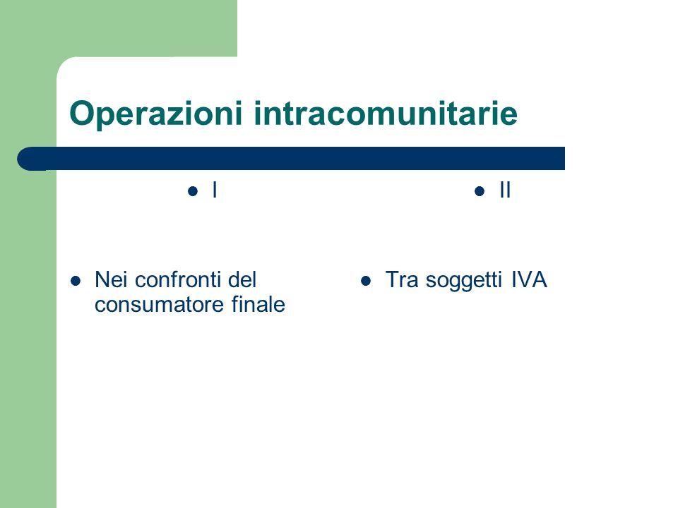 Operazioni intracomunitarie I Nei confronti del consumatore finale II Tra soggetti IVA