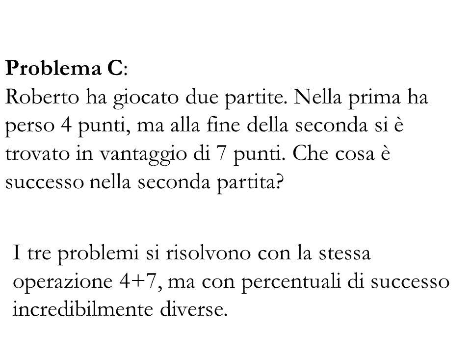 Problema C: Roberto ha giocato due partite. Nella prima ha perso 4 punti, ma alla fine della seconda si è trovato in vantaggio di 7 punti. Che cosa è