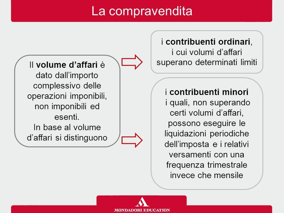 La compravendita Il volume d'affari è dato dall'importo complessivo delle operazioni imponibili, non imponibili ed esenti. In base al volume d'affari