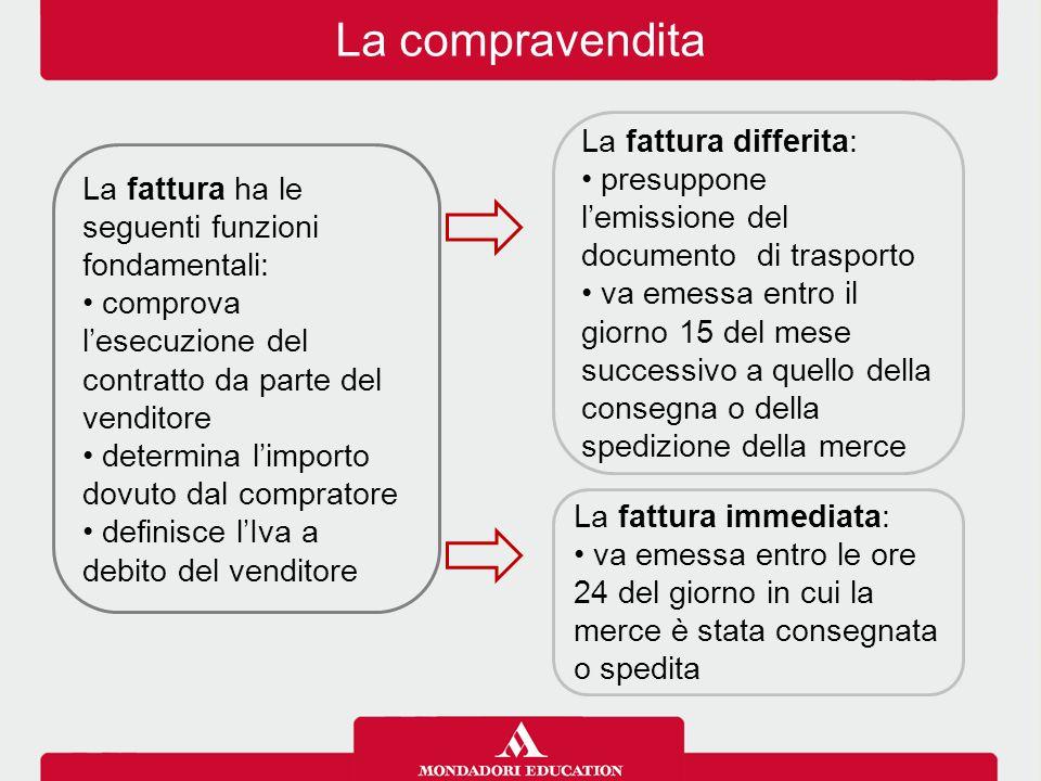 La compravendita La fattura ha le seguenti funzioni fondamentali: comprova l'esecuzione del contratto da parte del venditore determina l'importo dovut