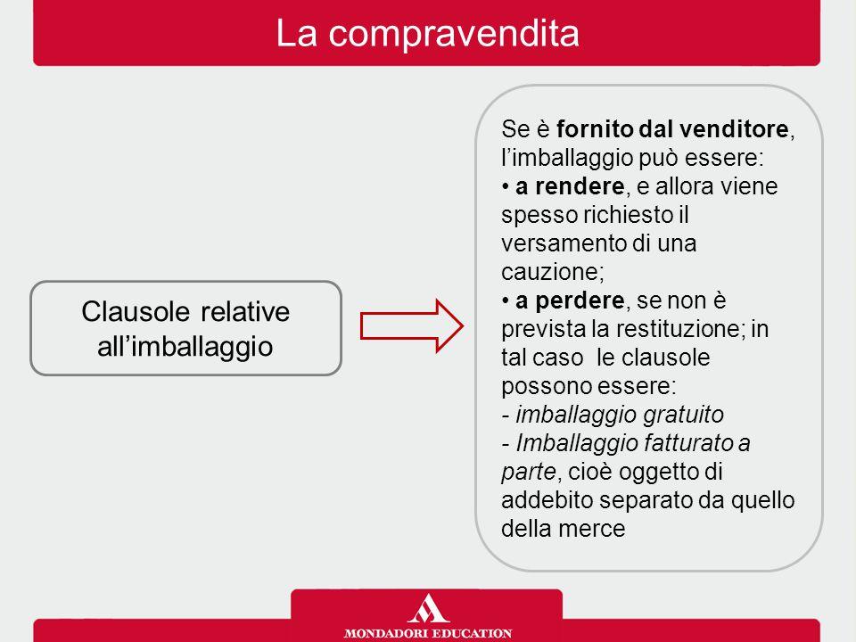 La compravendita Clausole relative al pagamento Per il pagamento vanno stabiliti: il tempo: pagamento anticipato, a pronta cassa, per contanti, differito, ecc.