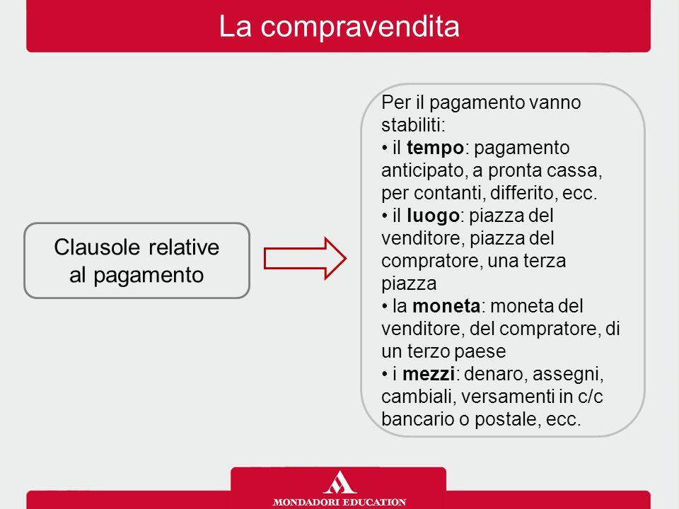 La compravendita Clausole relative al pagamento Per il pagamento vanno stabiliti: il tempo: pagamento anticipato, a pronta cassa, per contanti, differ