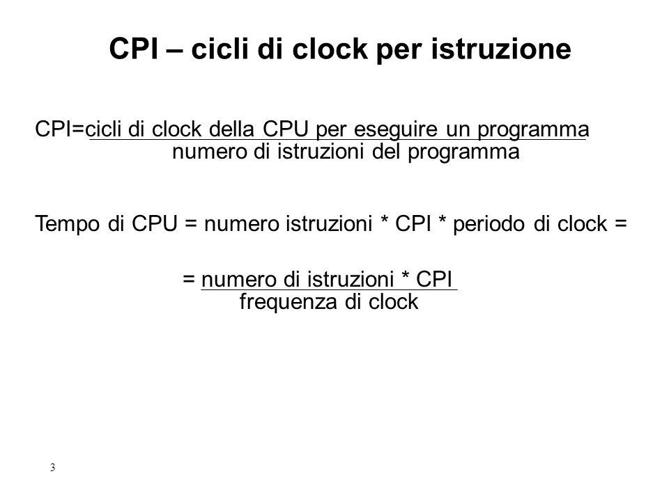 3 CPI – cicli di clock per istruzione CPI=cicli di clock della CPU per eseguire un programma numero di istruzioni del programma Tempo di CPU = numero
