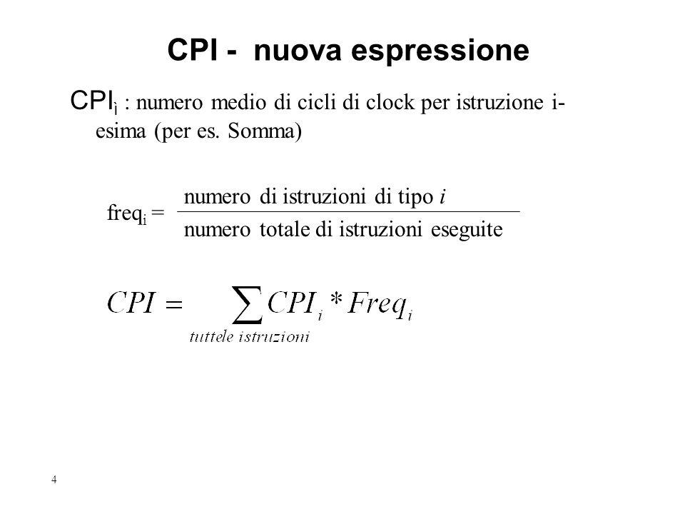 4 CPI - nuova espressione CPI ì : numero medio di cicli di clock per istruzione i- esima (per es. Somma) numero di istruzioni di tipo i numero totale