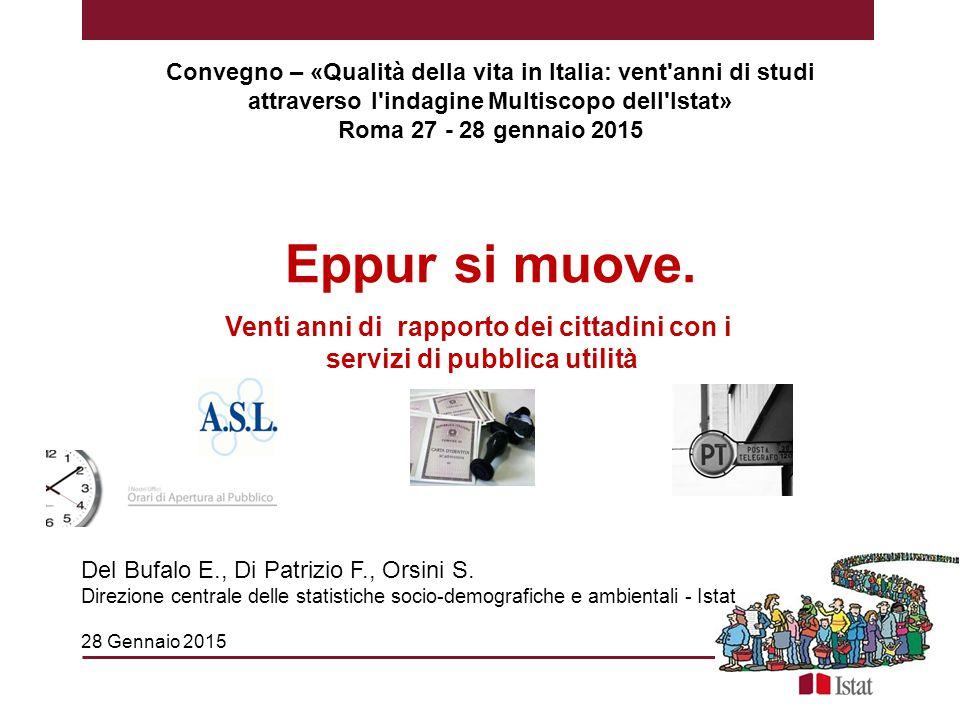 Eppur si muove. Venti anni di rapporto dei cittadini con i servizi di pubblica utilità Convegno – «Qualità della vita in Italia: vent'anni di studi at