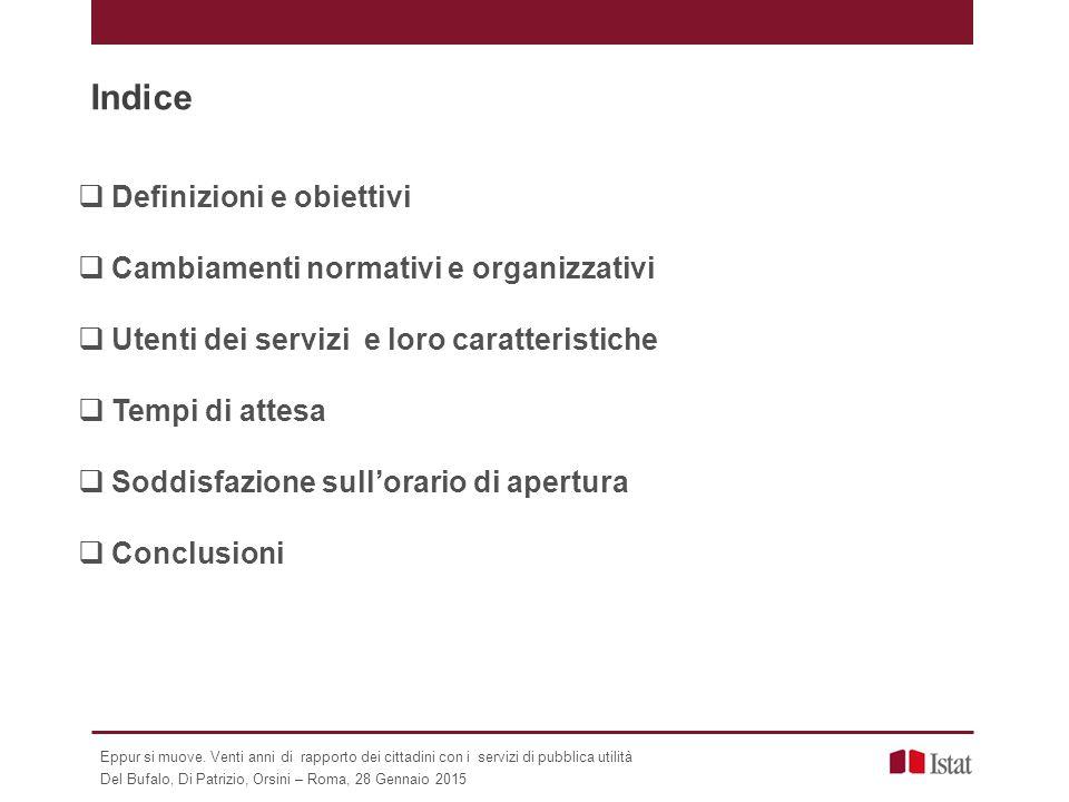 Indice  Definizioni e obiettivi  Cambiamenti normativi e organizzativi  Utenti dei servizi e loro caratteristiche  Tempi di attesa  Soddisfazione