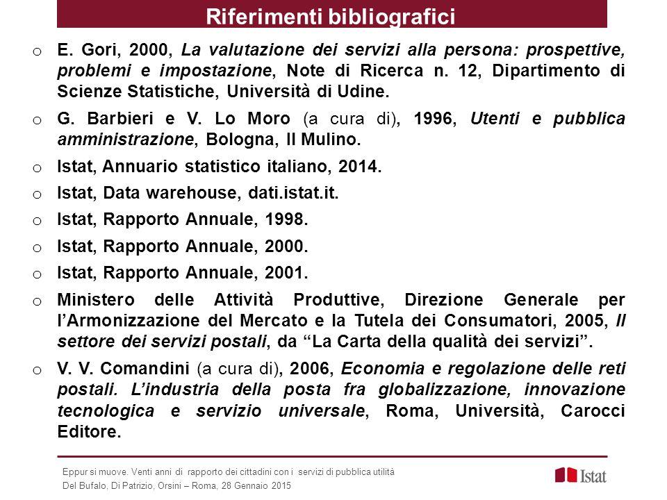 Riferimenti bibliografici o E. Gori, 2000, La valutazione dei servizi alla persona: prospettive, problemi e impostazione, Note di Ricerca n. 12, Dipar