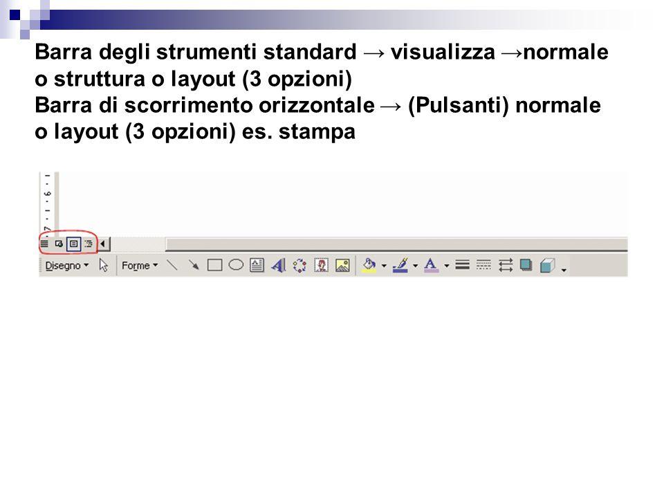 Barra degli strumenti standard → visualizza →normale o struttura o layout (3 opzioni) Barra di scorrimento orizzontale → (Pulsanti) normale o layout (