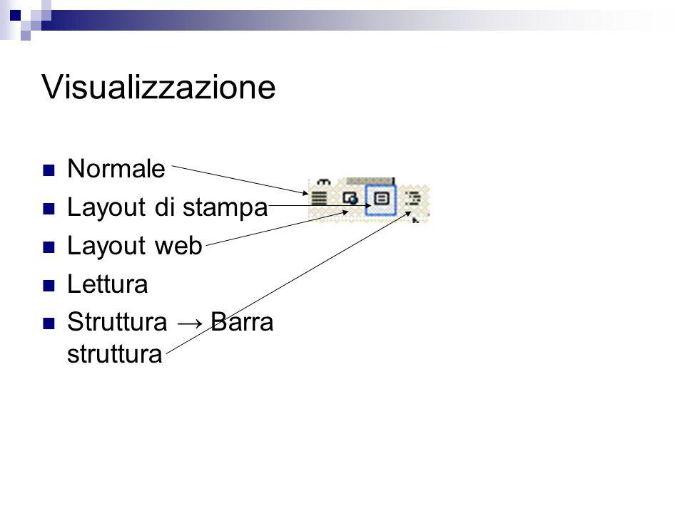 Visualizzazione Normale Layout di stampa Layout web Lettura Struttura → Barra struttura