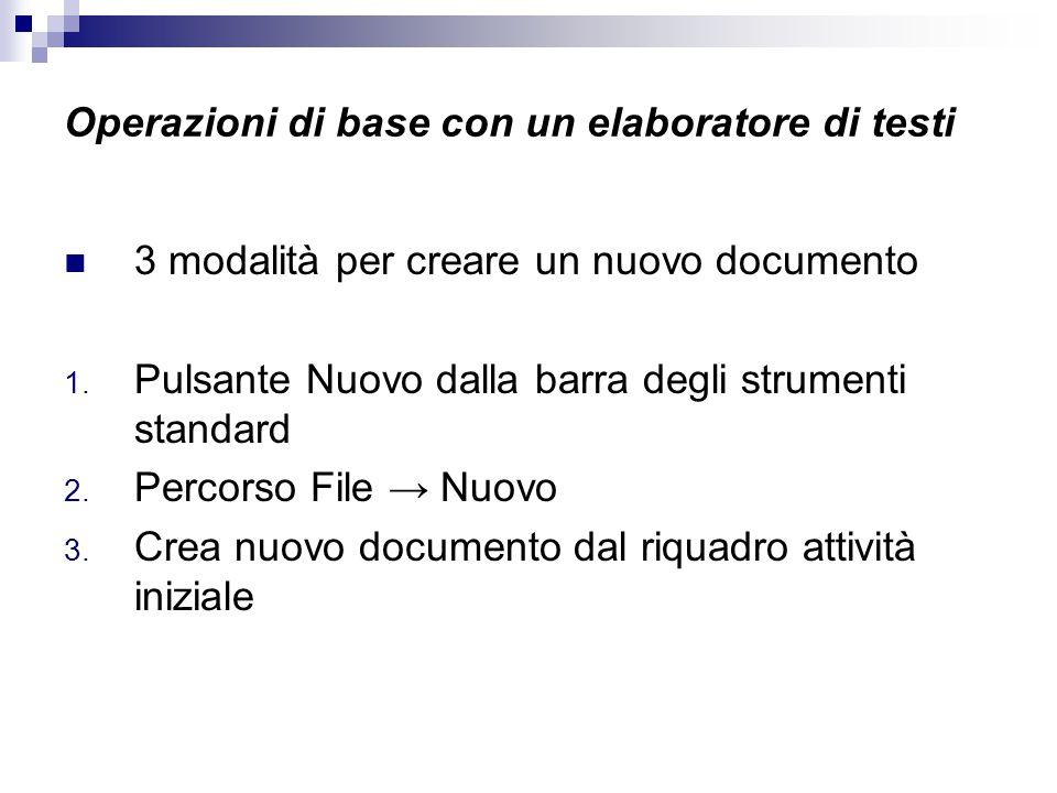 Operazioni di base con un elaboratore di testi 3 modalità per creare un nuovo documento 1. Pulsante Nuovo dalla barra degli strumenti standard 2. Perc