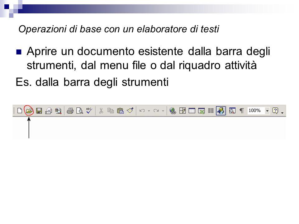 Operazioni di base con un elaboratore di testi Aprire un documento esistente dalla barra degli strumenti, dal menu file o dal riquadro attività Es.